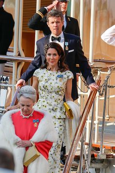 (Front to back) Princess Benedikte of Denmark, Crown Princess Mary Of Denmark and Crown Prince Frederik of Denmark are seen leaving the yacht ' Dannebrogen ' for the 70th birthday of King Carl Gustaf of on April 30, 2016 in Stockholm,