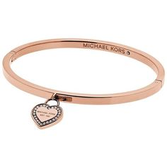 Michael Kors Michael Kors Rose Gold ($130) ❤ liked on Polyvore featuring jewelry, pave bangle bracelet, heart bangle bracelet, rose gold bangle, pink gold jewelry and rose gold jewelry