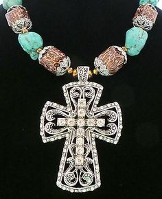 Cowgirl Bling Scroll CROSS RHINESTONES Brown Leopard Chunky Turquoise GYpsy Silver necklace set our  prices are WAY BELOW retail! ALL JEWELRY SHIPS FREE! BAHA Ranch Western Wear www.baharanchwesternwear.com