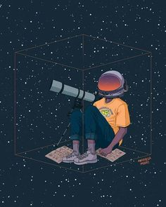 """mozza"", ""I see myself here"" Art And Illustration, Astronaut Illustration, Illustrations, Astronaut Drawing, Tattoo Estrela, Astronaut Wallpaper, Space Boy, Galaxy Wallpaper, Grafik Design"