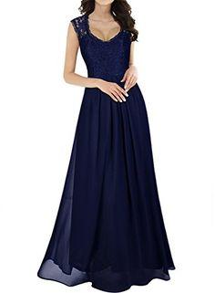 2d00ec97af9e Miusol Women's Casual Deep- V Neck Sleeveless Vintage Maxi Dress (Small,  Navy Blue