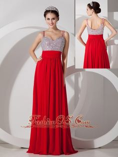 Pretty Red Empire Straps Prom Dress Chiffon Beading and Ruch Floor-length  http://www.fashionos.com  There is no way your night will be dull when you wear this enchanting column dress! Dramatic embellishments encrust the bodice, which also features a straps sweetheart neckline. The column skirt falls gracefully from an empire waist line, the perfect shape for any figure. It is really twinkling !