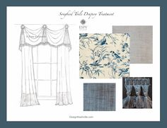 Songbird Toile Drapery Treatment, indigo. custom designs are free of charge using any of these materials. DesignNashville.com shipping to you