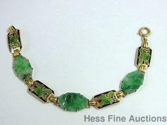 1930s Art Deco 14K Gold Jade Dragon Enamel Antique 7.25in Jadeite Bracelet