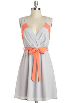 Pop of Coral Dress, #ModCloth    I can't remember if the groom's men are wearing grey, if so, then this may work.