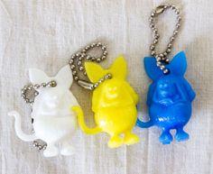 Set of 3 Colors Rat Fink Figure Keychain Ed Big Daddy Roth