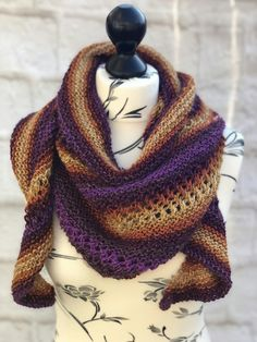 Hand Knitted Acrylic Scarf Shawl in Sunset Tones with Metallic Thread £25.00 Double Knitting, Hand Knitting, Animal Fibres, Metallic Thread, Garter Stitch, Beautiful Gifts, Orange And Purple, Gifts For Friends, Knits
