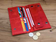 Wallet for women Gift for mom Minimalist wallet Womens gift Clutch wallet Wallet Small wallet Leather wallet Long wallet Valentine day - Beutel Ideen Leather Card Wallet, Leather Gifts, Clutch Wallet, Handmade Leather, Good Wallets, Wallets For Women, Good Presents For Dad, Gifts For Mom, Crazy Horse