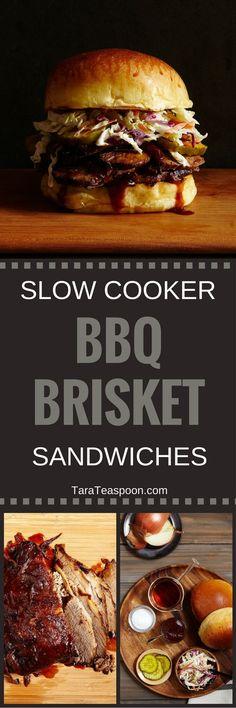 Slow Cooker Brisket Sandwiches Pin