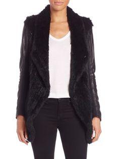 june - Leather-Sleeved Draped Rabbit Fur Jacket