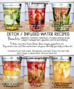 DETOX/INFUSED WATER RECIPES⁑ 1) lemon, cucumber & mint. 2) strawberries, oranges & blueberries. 3) grapefruit, cucumber, lime & rosemary. 4) grapefruit & lemon. 5) strawberries & kiwi. 6) pineapple, apple & cantaloupe. *Combine fruits, add water, refrigerate overnight & enjoy next day. Discard after 48 hours.