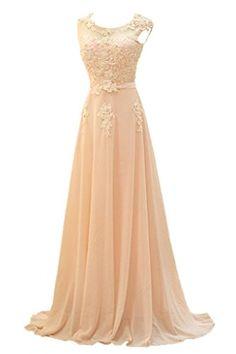 Gorgeous Bride Modisch Lang Rundkragen A-Linie Chiffon Tuell Spitze Schleppe Abendkleid Festkleid Ballkleid -58 Bildfarbe