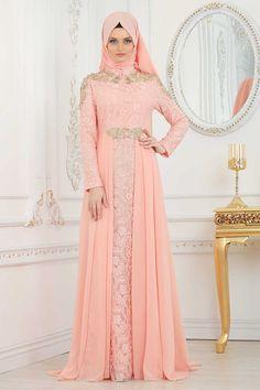 EVENING DRESS - SALMON PINK HIJAB DRESS 20100SMN Stylish Dress Designs, Stylish Dresses, Hijab Style Dress, Hijab Chic, Abaya Fashion, Fashion Dresses, Estilo Abaya, Muslim Women Fashion, Eid Outfits