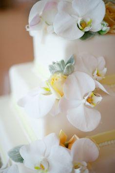 Love the luscious orchids on this @Mandy Bryant Dewey Seasons Resort The Biltmore Santa Barbara wedding cake.