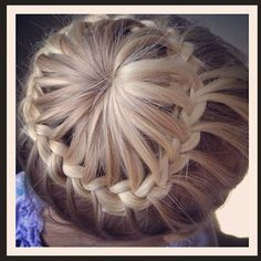 Sock bun french braid. All you do is  leave some hair out at the bottom and then make sock bun and pull out some strains of hair  and just french braid around and pin it