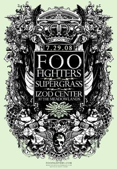 Foo Fighters + Supergrass concert poster, by Jared Connor http://www.mediator.io/