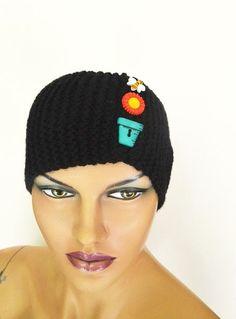 Black  Hand Knitted Headband Ear by NesrinArt on Etsy, $20.00