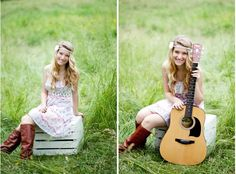 Senior pictures girl with guitar. Could prolly do a version of this with a clarinet