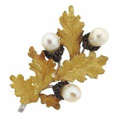 Buccellati Pearl Sterling Silver Gold Leaf Brooch Pin