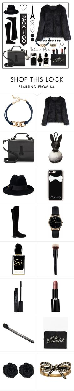"""""""Pack in black"""" by yemuller ❤ liked on Polyvore featuring H&M, Chicwish, Kendall + Kylie, Gucci, Casetify, Stuart Weitzman, Freedom To Exist, Giorgio Armani, Bare Escentuals and Smashbox"""