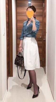 - Trench coat: Whim Gazette - Denim shirt: H&M - Skirt: Uniqlo - Leopard bag: Dolce&Gabbana - Pumps: Christian Louboutin Asian Hotties, One Piece Dress, Office Ladies, Ao Dai, Denim Shirt, Uniqlo, Shirt Outfit, Midi Skirt, Cool Outfits