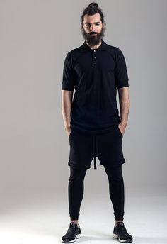Polo neck with snaps  Double cotton pants