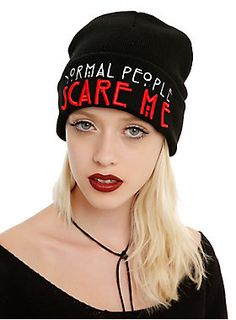 "<p>Black knit beanie from <i>American Horror Story</i> with an embroidered ""Normal People Scare Me"" design on the fold-over.</p>  <ul> 	<li>One size fits most</li> 	<li>100% acrylic</li> 	<li>Imported</li> </ul>"