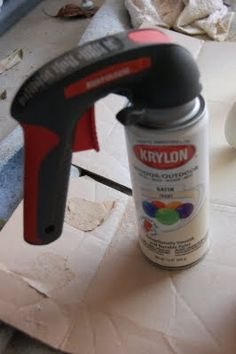 "Best spray paint ""investment"" ever!  Spray paint hand gun - $6 at Home Depot. Saves your finger and helps spray a nice even coat."