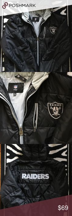 """NFL Proline XL Raiders Coat Authentic NFL Proline Raiders Coat. Size XL. Double zipper, 3 small zippered exterior pockets. Fleece lined hood with adjustable drawstrings. In excellent preloved condition. One small snag on front (pictured). Measures approx 28.5"""" armpit to armpit, 30"""" long. NFL Proline Jackets & Coats"""