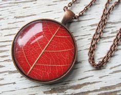 Real Leaf Necklace - Bright Orange Leaf Necklace in Antique Copper