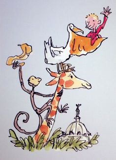 Roald Dahl image, framed and mounted print: 18 x 14 inches framed price €49. The Giraffe the Pelly and Me from the Waldock Gallery in Dublin.