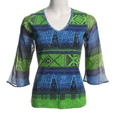 Blue & Lime Tribal V-Neck Top - Women by Le Mieux #zulily #zulilyfinds