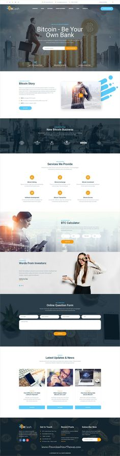 BitCash is clean and modern design #PSD template for #cryptocurrency, #bitcoin mining, #finaince and business consulting services #website with 16 layered PSD pages to live preview & download click on Visit