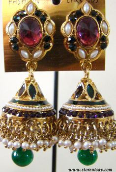 Earrings Jhumki Indian Dangle Enamel Meenakari Gemstone by Store Utsav Fashion Jewelry Shop, Jewelry Art, Handmade Jewelry, Jewelry Design, Jewellery, Handmade Gifts, Value In Art, Indian Earrings, Enamel Jewelry