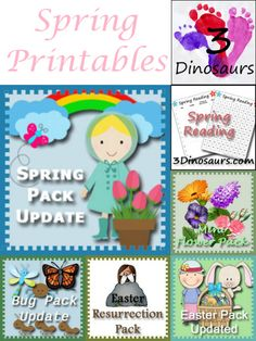 Round Up of Spring Printables on 3Dinosaurs.com - Themed Packs, Reading Charts, Writing Activities and more