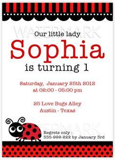 DIY PRINTABLE Invitation Card  Red LadyBug Party