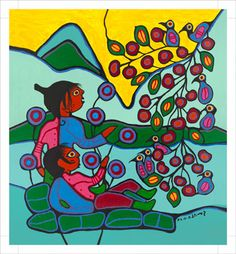 """""""The Branch of Life"""" by Ojibway First Nations Iconic Artist Norval Morrisseau (Canadian Aboriginal Artist) Love his art!"""