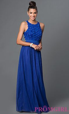 Long Royal Blue Dress with Floral Appliques at PromGirl.com