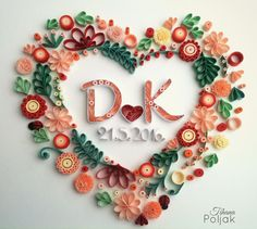 Quilled wreath, quilled heart, quilled letters, quilling flowers, gift for…