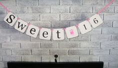 Sweet 16 Birthday Banner/Pink/Girl by HeartandSoulBanners on Etsy, $14.00