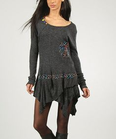 Take a look at this Dark Gray Christiane Handkerchief Dress by Charlotte & compagnie on #zulily today!