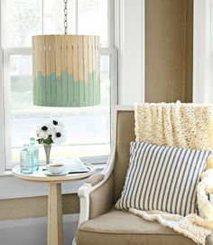 Paint-Stick Lampshade      Transform a basic shade with paint sticks. Those hardware-store stirrers can do more than just blend semigloss. Instead, use them to ring any cylindrical shade that's up to 14 inches tall.
