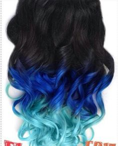 Black royal blue turquoise ombre dip dyed hair  This is what I want to do