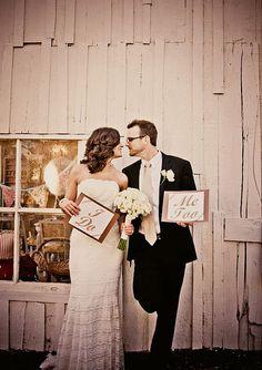 "Cute wedding portraits with ""I do, Me Too"" signs. #weddingphotography #brideandgroom #weddingchicks ---> http://www.equinoxphoto.net/"