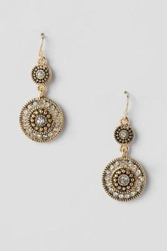 Ledell Pavé Antique Circle Drop Earrings