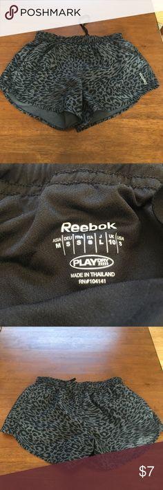 Reebok animal print running shorts Cute black and gray animal print. Great condition! Reebok Play Dry Reebok Shorts