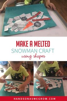 Teach shapes with this easy snowman craft for toddlers and preschoolers to make at home with just glue, scissors and colored paper! Low prep, no mess and lots of creativity for kids. Toddler Preschool, Toddler Crafts, Preschool Activities, Gross Motor Activities, Winter Activities, Teaching Shapes, Melted Snowman, Shape Crafts, Preschool Christmas