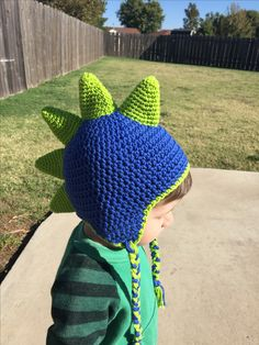 FB page: A Girly Momma of Boys Beanie Pattern Free, Free Pattern, Crochet Toddler, Crochet Baby, Crochet Dinosaur Hat, Crochet Character Hats, Scarf Hat, Kids Hats, Creative Crafts
