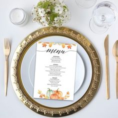Printable Fall Themed Dinner Menu, Reception, Place Setting, Appetizers, Menu Download, Digital, Plain, Casual, Thanksgiving Fall Dinner, Dinner Menu, Thanksgiving Parties, Holiday Parties, Place Settings, Table Settings, Diy Party Supplies, Dinner Themes, For Your Party