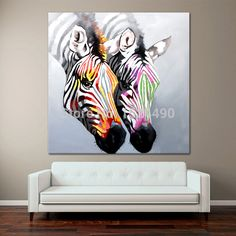 Hand made Abstract Zebra Oil Painting On Canvas Paintings Wall Pictures Horse Animals Oil Painting Living Room Craft Home Decor